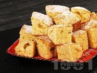 Рецепта Пухкав обикновен кекс / сладкиш с прясно мляко и бял шоколад